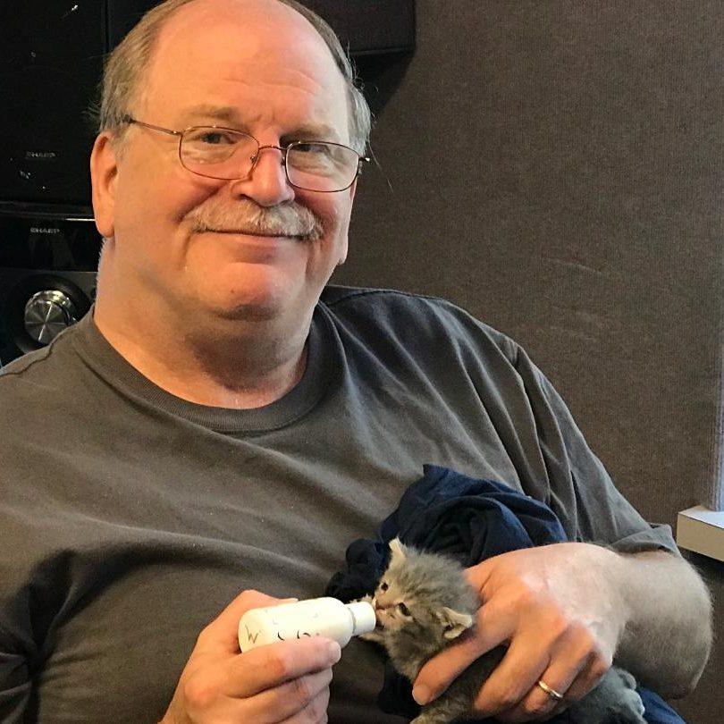 Dean Erskine Feeding Rescue Kitten 2018